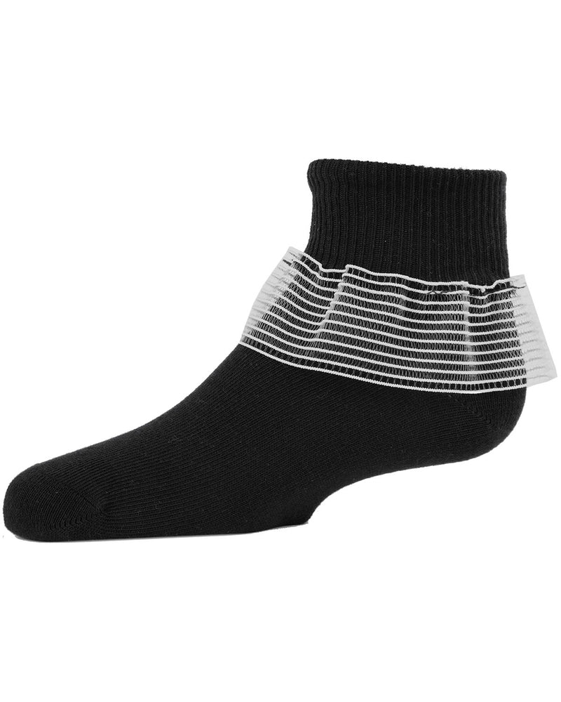 Far Out Girls Ruffle Socks | Girls Lace Cheer Anklet Socks by MeMoi |  Black MKF 6012
