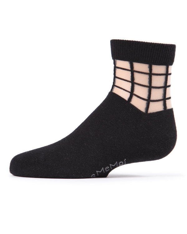 Girls Window Pane Sheer Socks | Anklet & Ankle Socks by MeMoi® | Cute & Cool Socks | Black MKF 6014
