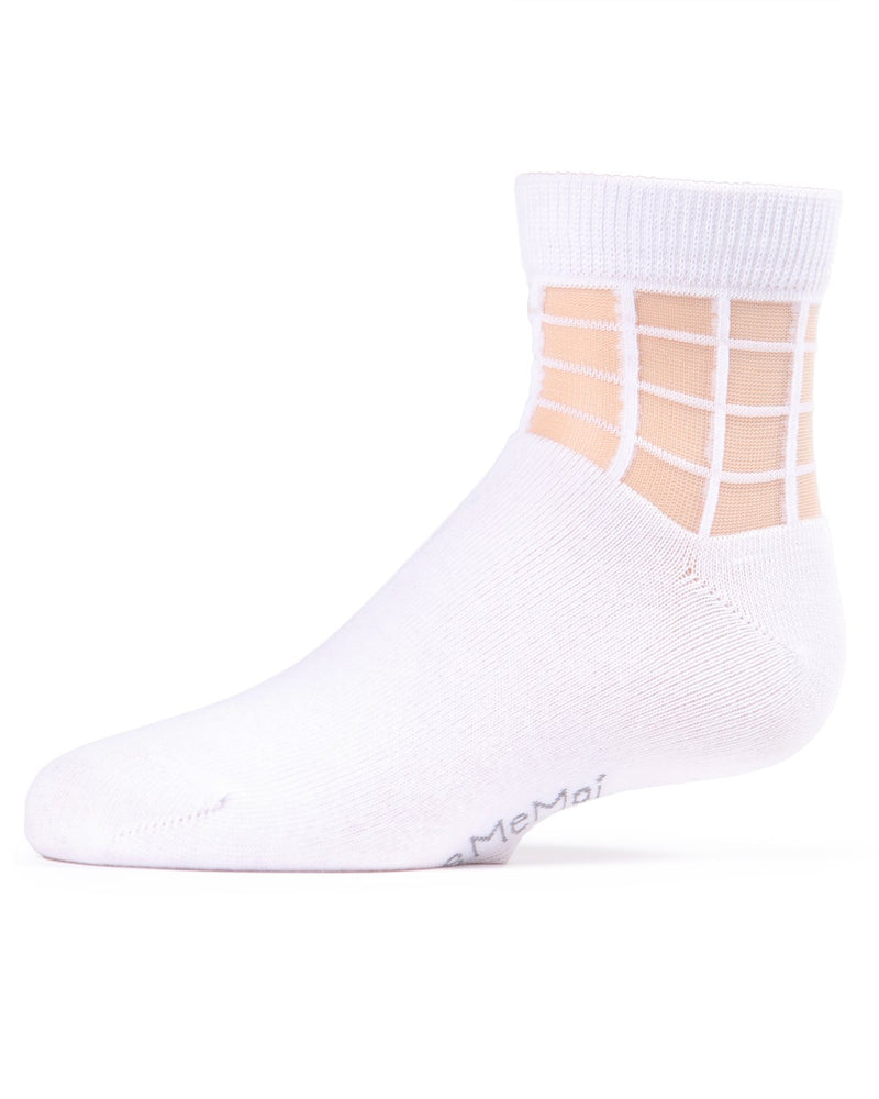 Girls Window Pane Sheer Socks | Anklet & Ankle Socks by MeMoi® | Cute & Cool Socks | White MKF 6014