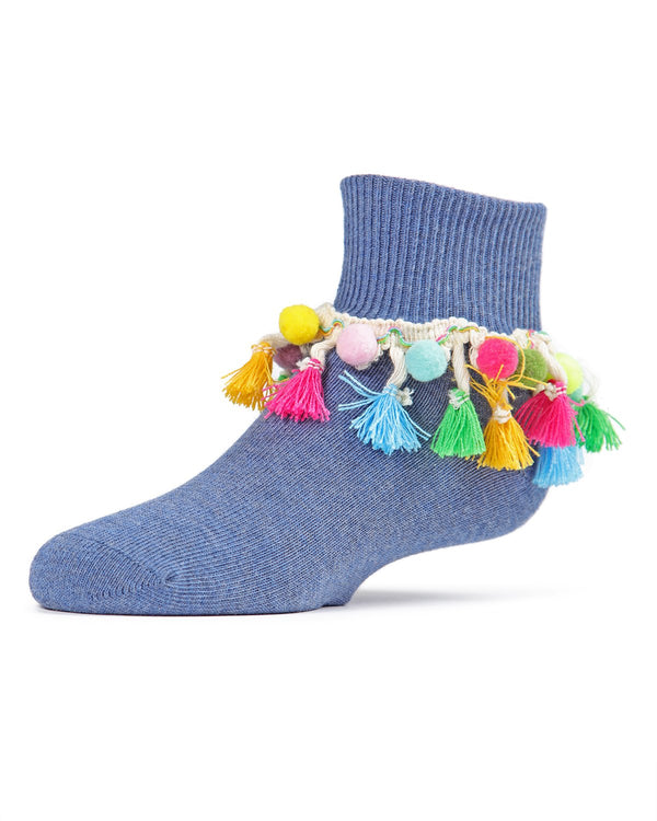 Pompom-Palooza Girls Ankle Socks | Girls Cheer Anklet Socks by MeMoi |  Denim MKF-6020