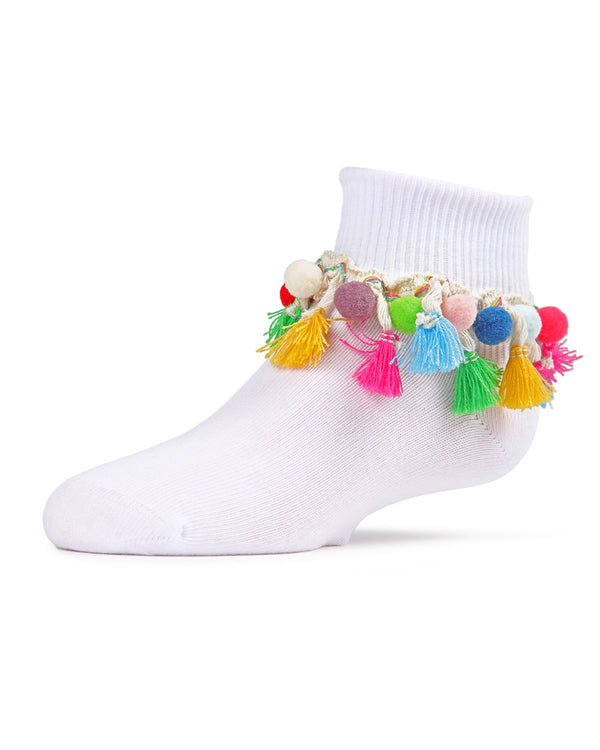 Pompom-Palooza Girls Ankle Socks | Girls Cheer Anklet Socks by MeMoi |  White MKF-6020