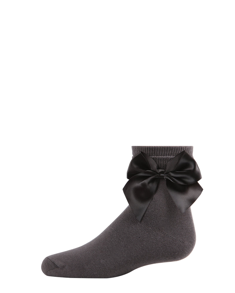 Side Bow Anklet Socks | Socks By MeMoi®  | MKF-6032 | Charcoal