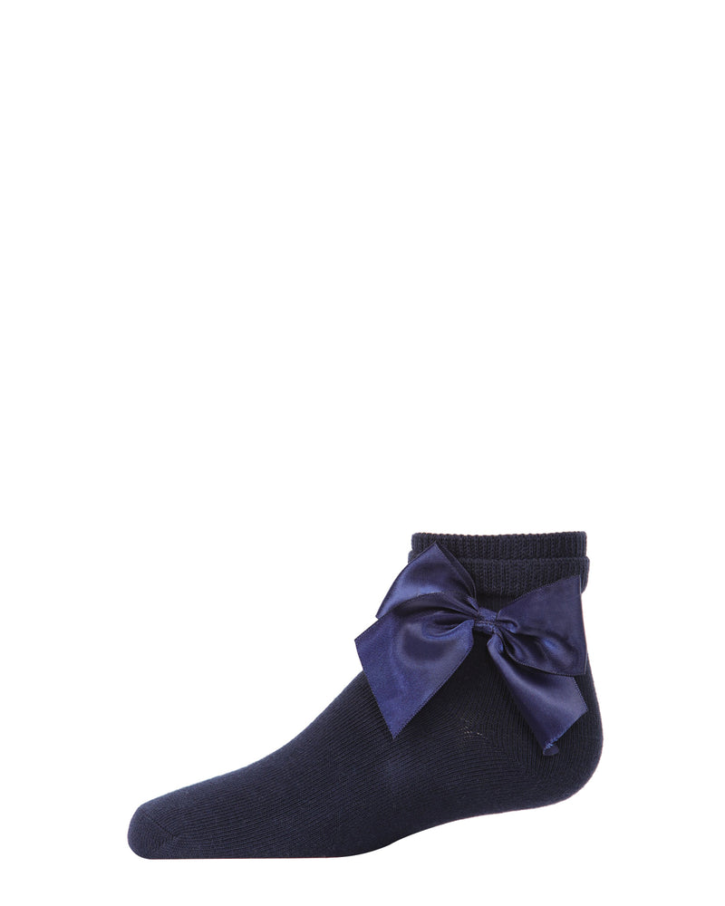 Side Bow Anklet Socks | Socks By MeMoi®  | MKF-6032 | Navy