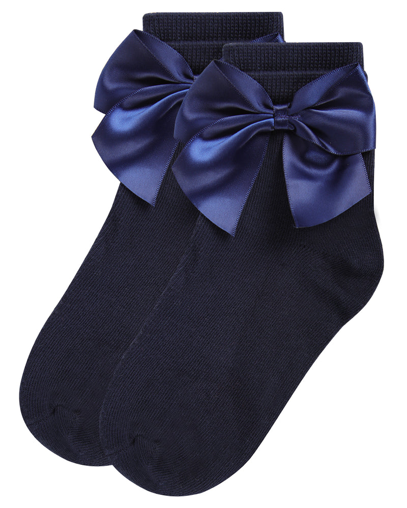 Side Bow Anklet Socks | Socks By MeMoi®  | MKF-6032 | | Navy 1