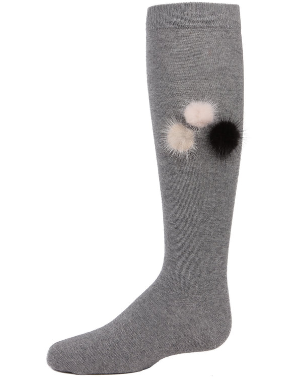 Fuzzy and Fun Girls Pompom Knee Socks