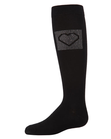 Rhinestone Heart Knee High Socks | Socks By MeMoi®  | MKF-7050 | Black