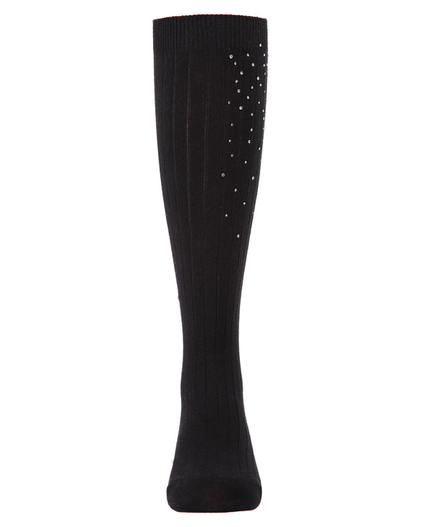 Ribbed Gemstone Knee High Socks | Socks By MeMoi®  | MKF-7051 | Black 1