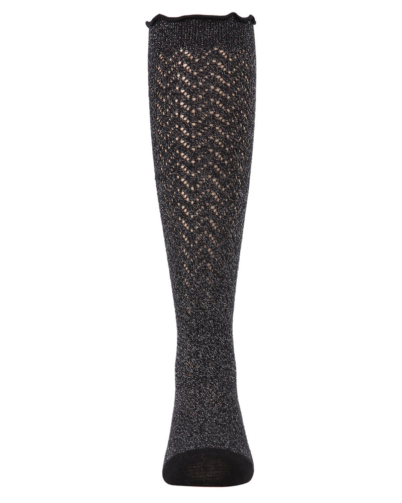 Open Work Shimmer Knee High Socks | Socks By MeMoi®  | MKF-7053 | Black 1