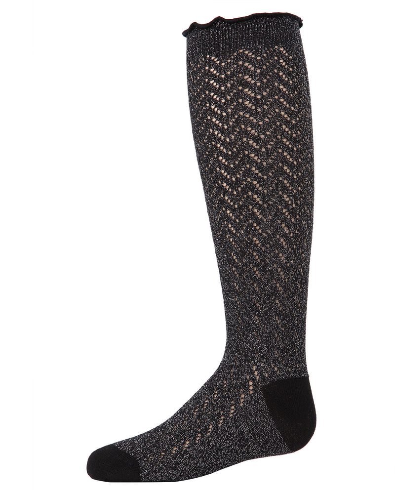 Open Work Shimmer Knee High Socks | Socks By MeMoi®  | MKF-7053  | Black