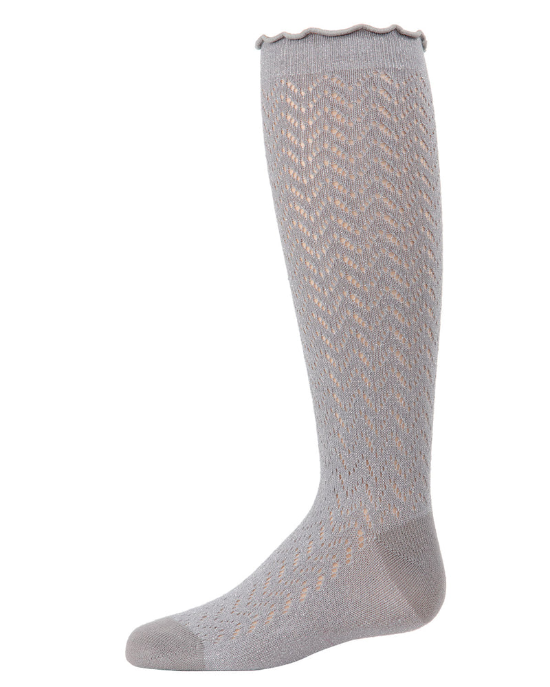 Open Work Shimmer Knee High Socks | Socks By MeMoi®  | MKF-7053 | Silver