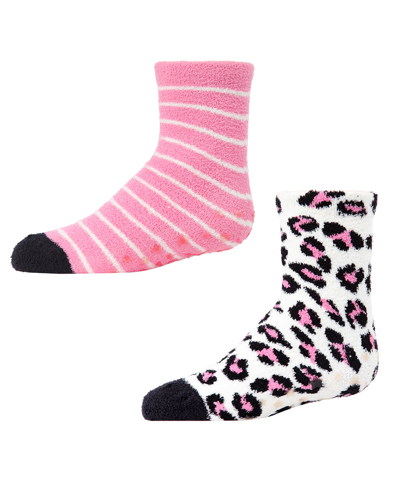 Leopard 2-Pair Fuzzy Socks | Socks By MeMoi®  | MKF-9601 | Black