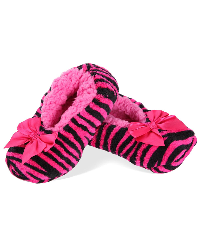 Party Animal Zebra Stripe Girls Slippers