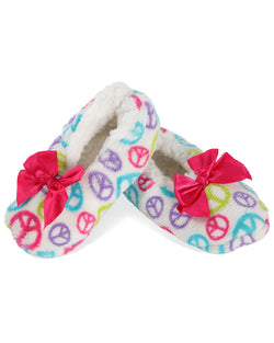 MeMoi Peace Out Girls Slippers | House Slippers for teens/girls | White MKF5-2517