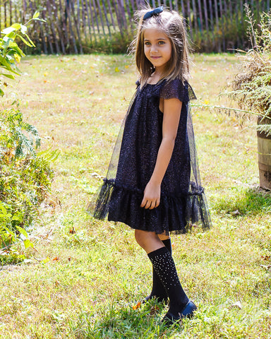 Ribbed Gemstone Knee High Socks | Socks By MeMoi®  | MKF-7051 | Black