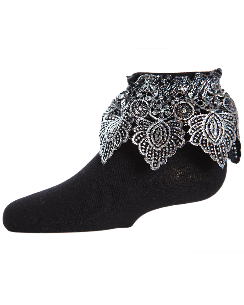 Metallic Leaf Anklet Socks
