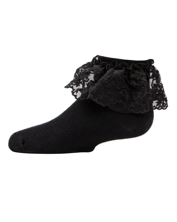 Petite Floral Lace Anklet Socks | MeMoi Cotton anklet Socks for girls |  Black MKF 6028