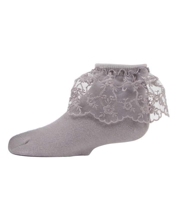 Petite Floral Lace Anklet Socks | MeMoi Cotton anklet Socks for girls |   Wet Weather MKF 6028
