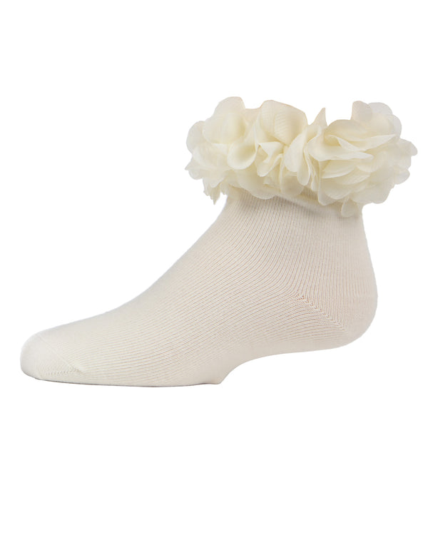Floral Halo Anklet Socks | MeMoi Cotton anklet Socks for girls | Winter White MKF 6029