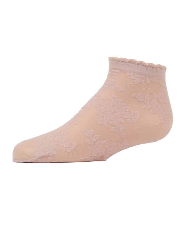Botanic Sheer Anklet Socks | MeMoi anklet Socks for girls | Blush Pink MKF 6030