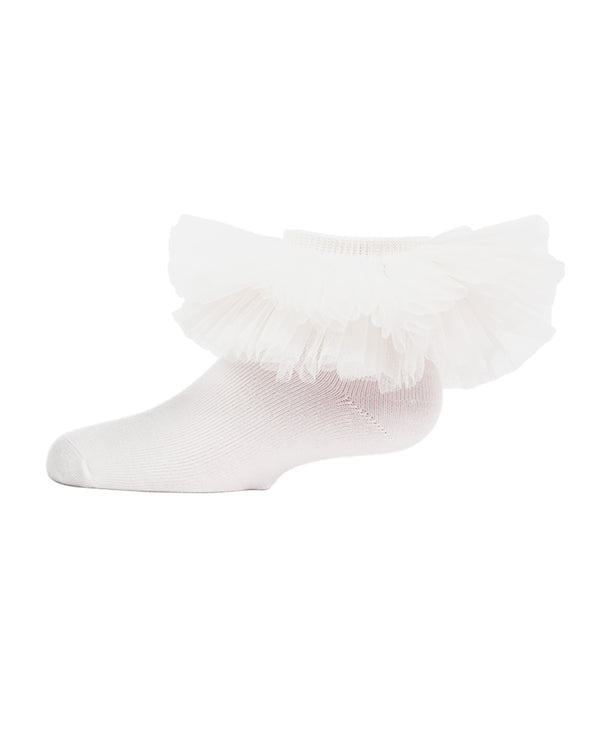 Tutu Anklet Socks | MeMoi anklet Socks for girls |  White MKF 6031