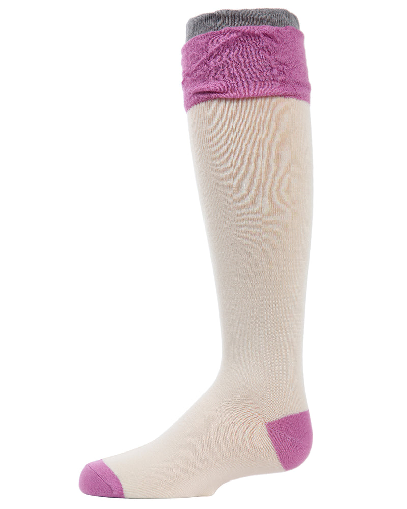 Ruffle Contrast Knee-High Socks
