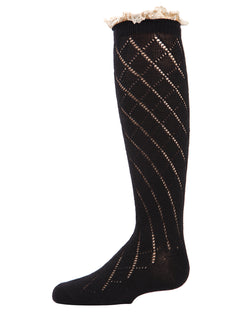Button Lace Trim Knee-High Socks