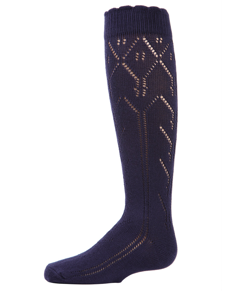Mixed Cable Knit Knee-High Socks
