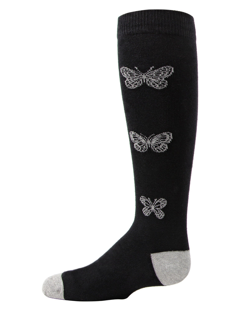 Glitter Butterfly Knee High Socks | MeMoi Socks for girls | Black MKF 7040