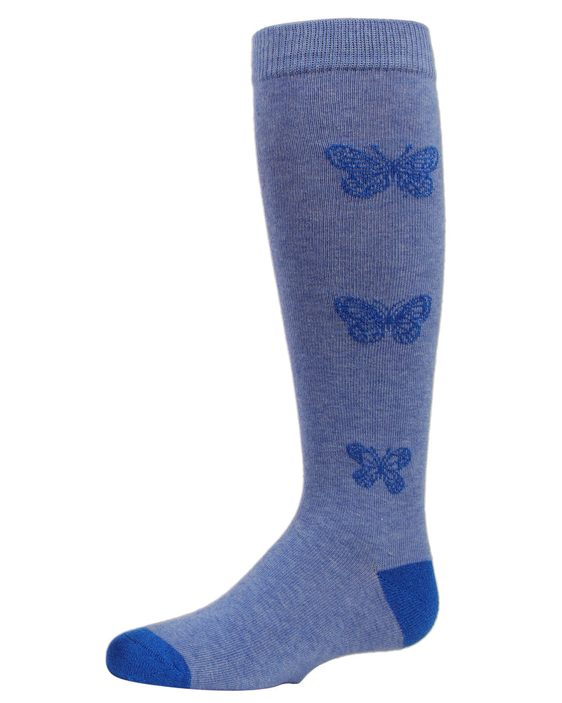 Glitter Butterfly Knee High Socks | MeMoi Cotton Knee High Socks for girls | Denim MKF 7040