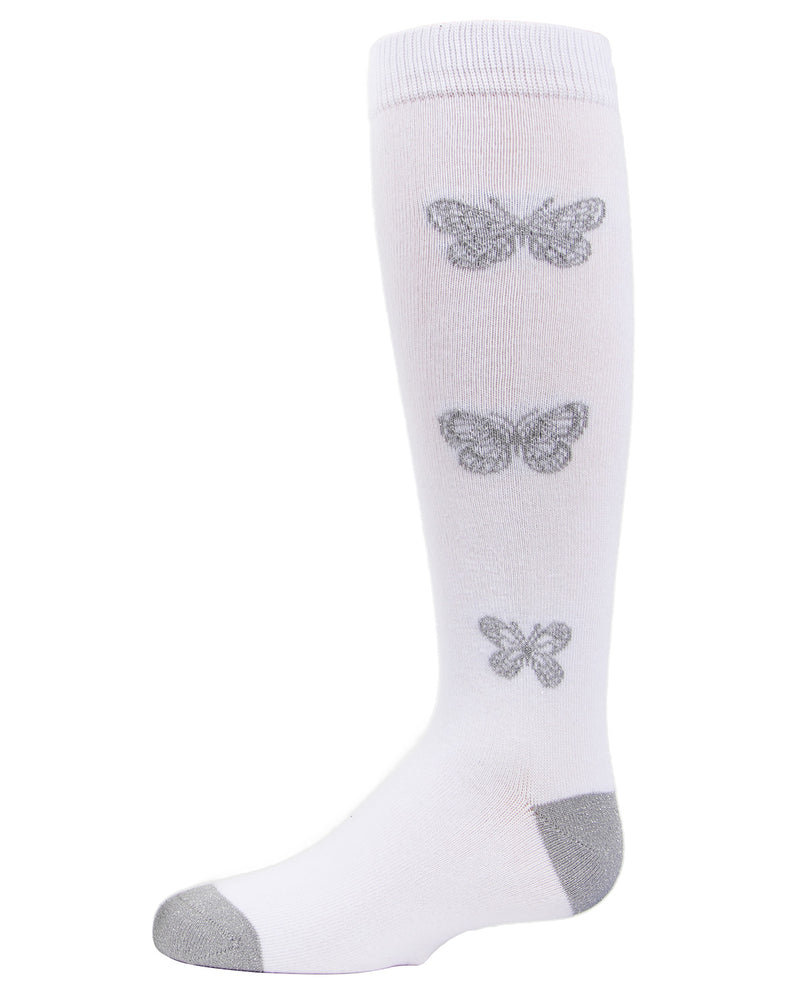 Glitter Butterfly Knee High Socks | MeMoi Cotton Knee High Socks for girls | White MKF 7040