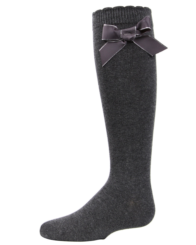 Sweet Bow Knee High Socks | MeMoi Cotton Knee High Socks for girls | Charcoal MKF 7042