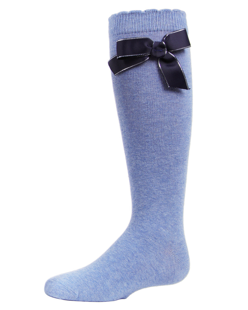 Sweet Bow Knee High Socks | MeMoi Cotton Knee High Socks for girls | Denim MKF 7042