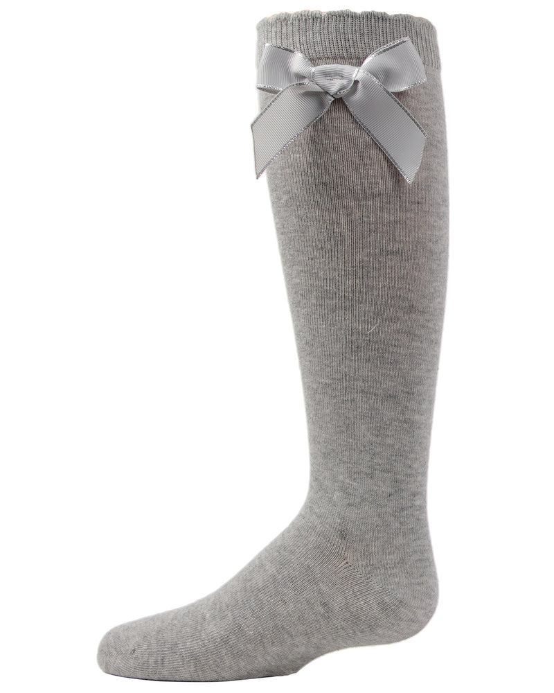 Sweet Bow Knee High Socks | MeMoi Cotton Knee High Socks for girls | Gray MKF 7042