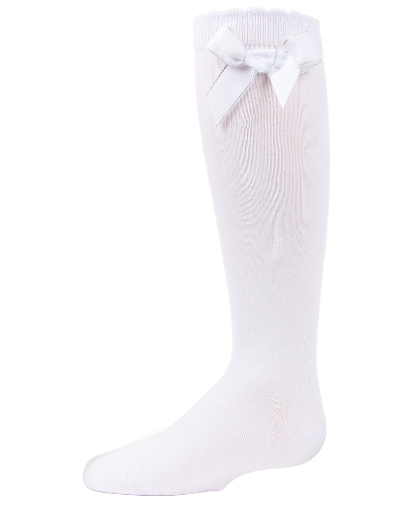 Sweet Bow Knee High Socks | MeMoi Cotton Knee High Socks for girls | White MKF 7042