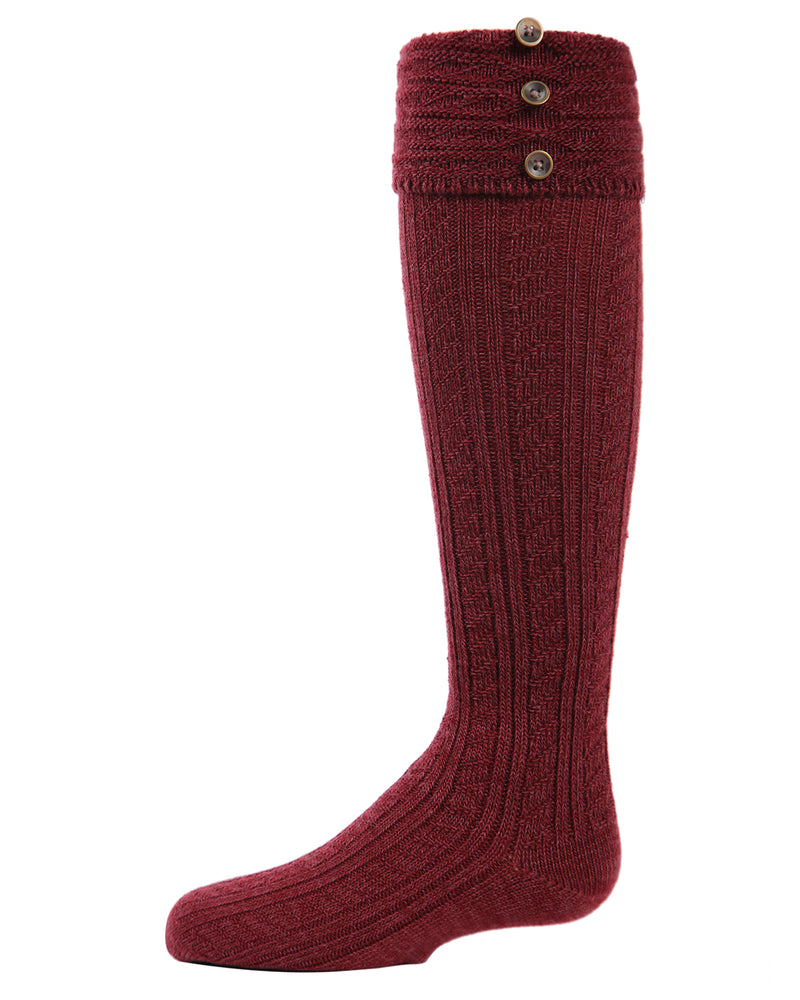 MeMoi Button Cable Turnover Girls Knee-High Boot Socks