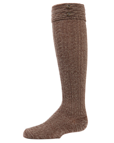 Button Cable Turnover Knee-High Boot Socks