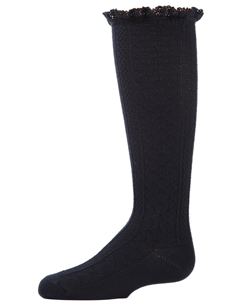 Cable Knit Trim Knee-High Boot Socks