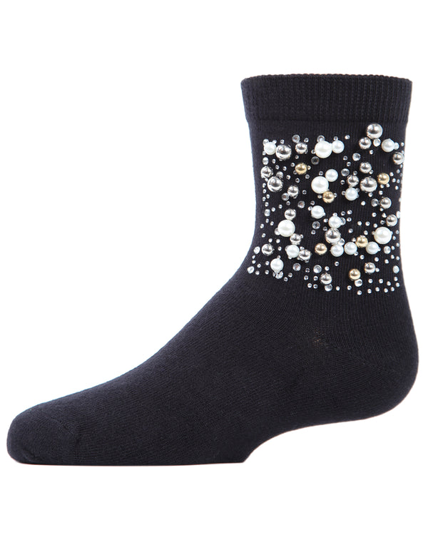 Starry Night Jeweled Girls Crew Socks