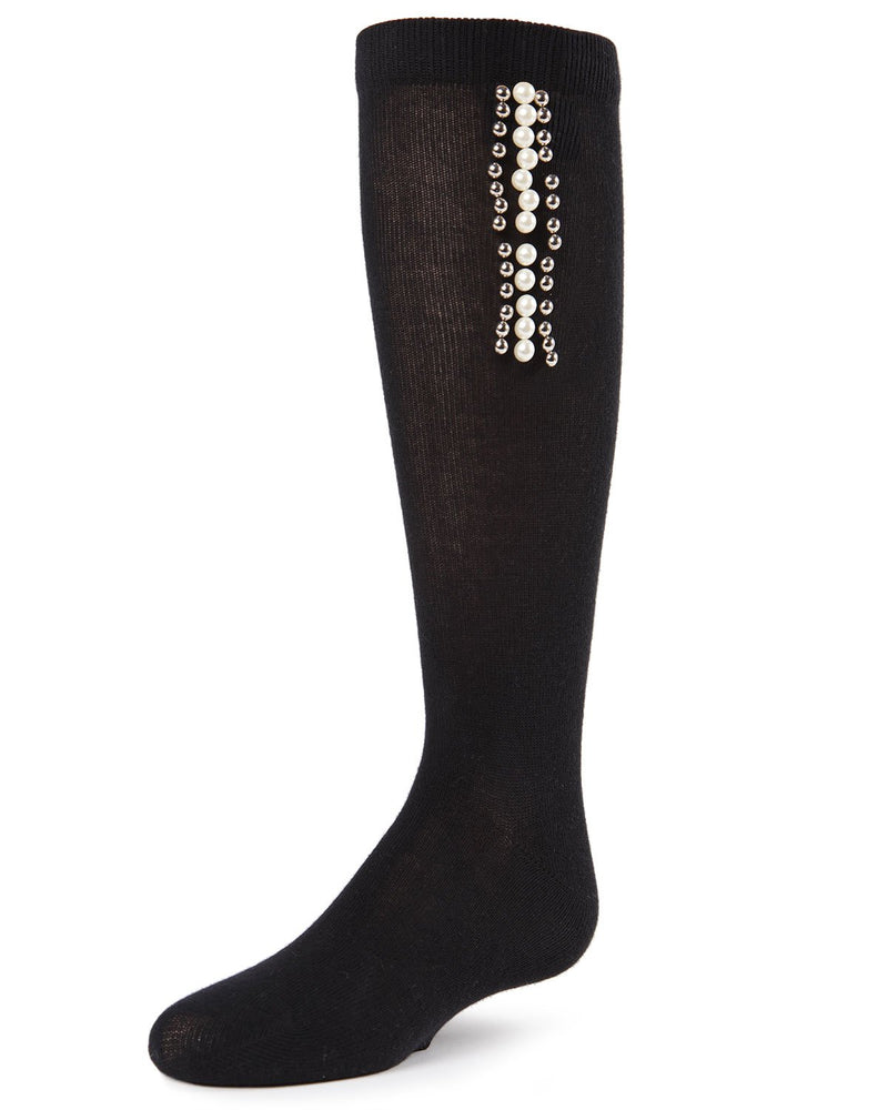 Pearls and Stripes Jeweled Girls Crew Socks