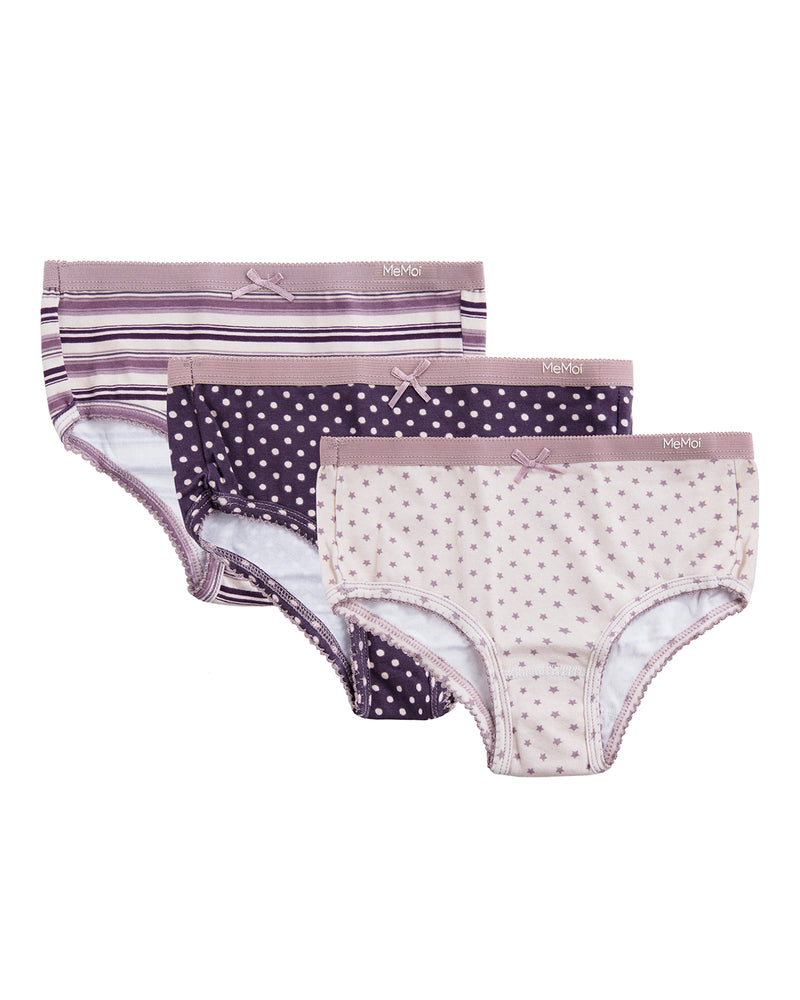 MeMoi Girl's Printed Briefs 3 Pack