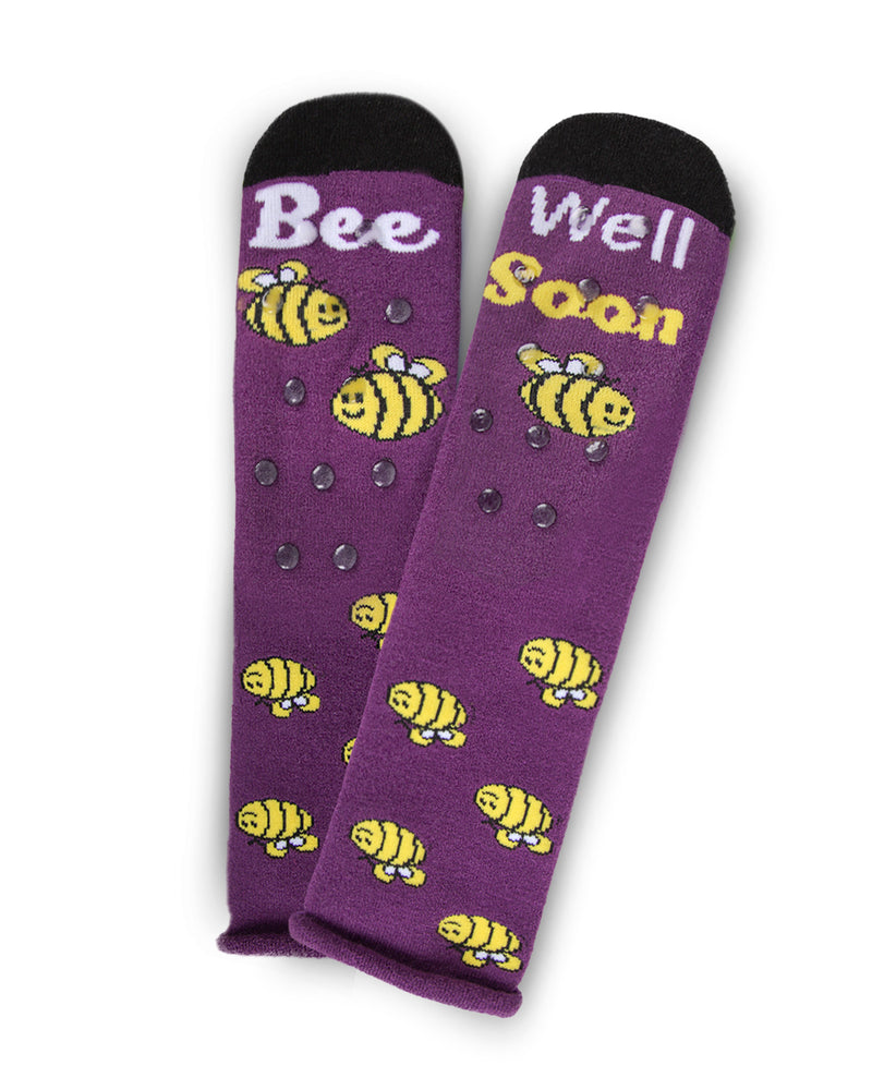 Bee Well Soon Greeting Card Socks | Hospital Socks by MeMoi | Red MKV06228