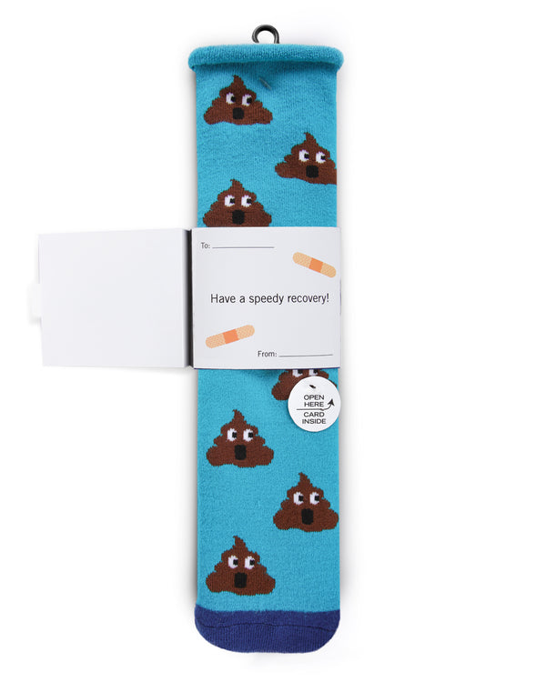 Sorry You Feel Like Poop Greeting Card Socks | Hospital Socks by MeMoi | Turquoise MKV06229 | Get Well Card