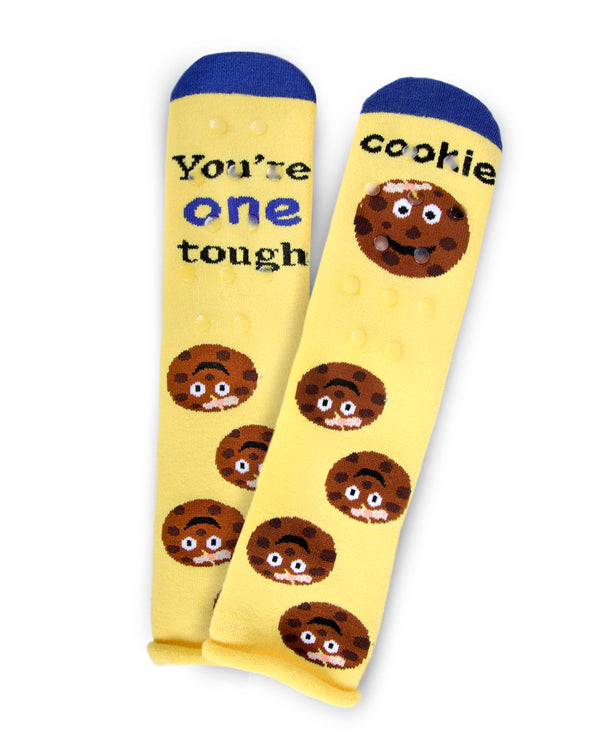 Tough Cookie Greeting Card Socks | Hospital Socks by MeMoi | Yellow MKV06232