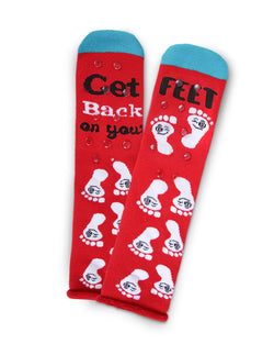 Back On Your Feet Greeting Card Socks | Hospital Socks by MeMoi | Red MKV06233