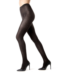 Memoi Black Charcoal Cashmere Blend Tights | Women's Hosiery - Pantyhose - Nylons