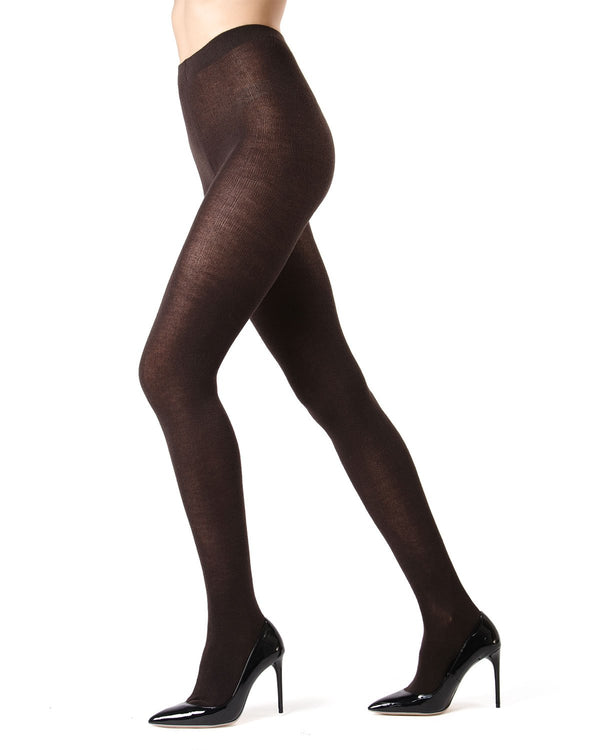 Memoi Brown Heather Cashmere Blend Tights | Women's Hosiery - Pantyhose - Sweater Tights ML-504