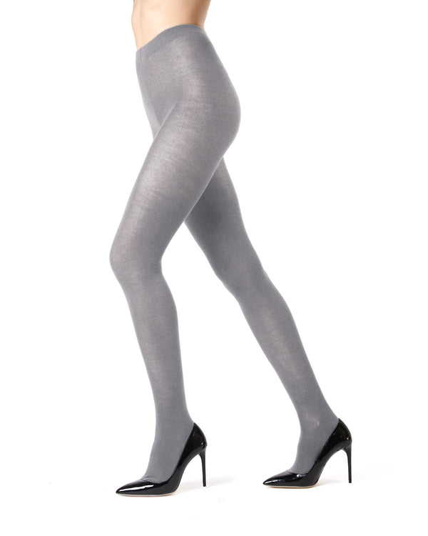 Memoi Lt Grey Heather Cashmere Blend Tights | Women's Hosiery - Pantyhose - Sweater Tights ML-504