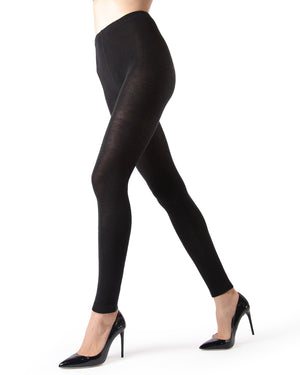 Memoi Black Cashmere Blend Footless Tights | Women's Hosiery - Pantyhose - Nylons