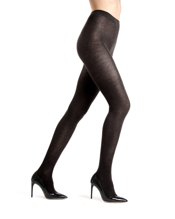 Memoi Black Merino Wool/Tencel Blend Solid Knit Tight | Women's Hosiery - Pantyhose - Nylons
