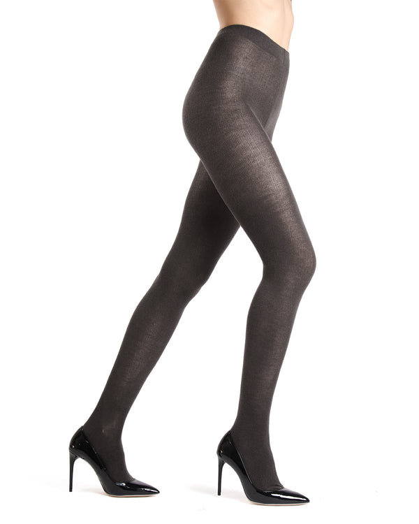 Memoi Dark Grey Heather Merino Wool/Tencel Blend Solid Knit Tight | Women's Hosiery - Pantyhose - Nylons
